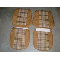 Seat cover set, tan check - 4 pieces